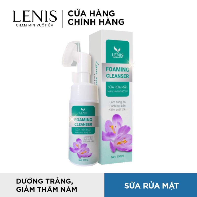 Sữa Rửa Mặt Có Đầu Cọ Sassage Silicon Foaming Cleaneser - Sữa Rửa Mặt Nhụy Hoa Nghệ Tây Lenis 150ml