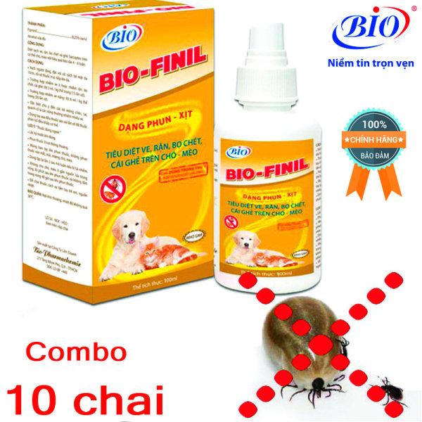 Combo 10 chai thuốc xịt BIO-FINIL tiêu diệt ve, bọ chét, rận, ghẻ trên da chó mèo siêu hiệu quả-79203