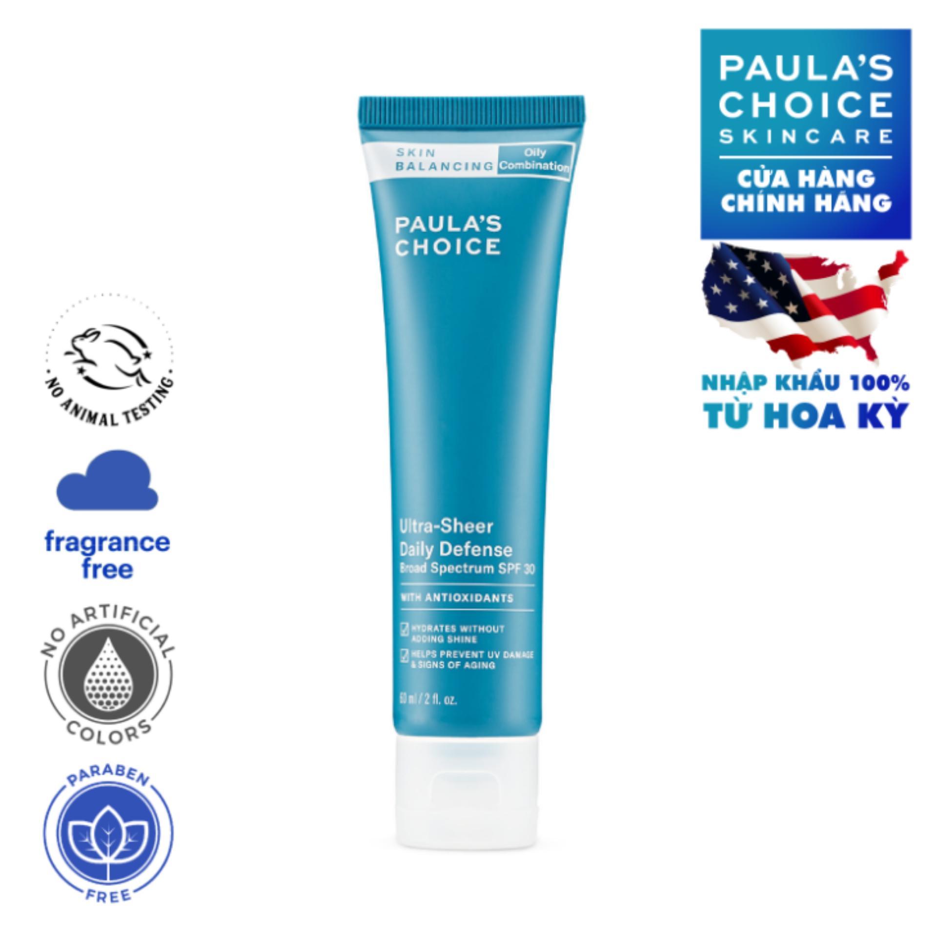 Kem Dưỡng Ban Ngày Siêu Bảo Vệ Và Cân Bằng Da Paula's Choice Skin Balancing Ultra - Sheer Daily Defence SPF 30 - 60ml tốt nhất