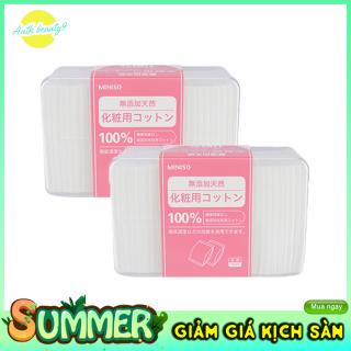 Bông Tẩy Trang Siêu Mỏng Nhật Bản Miniso Hộp 1000 Miếng 100% Cotton Nguyên Chất Dai Mềm, Không Gây Kích Ứng. thumbnail