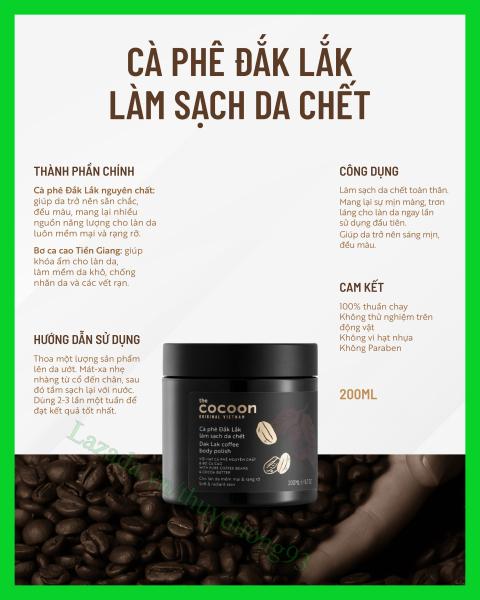 Cà phê Đắk Lắk tẩy da chết làm sạch da chết toàn thân Cocoon 200ml giúp da sáng mịn, đều màu nhập khẩu