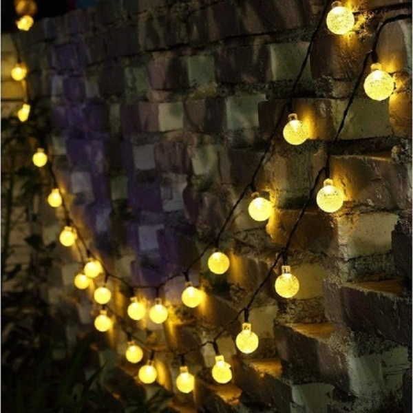 [HCM]Đèn Led Cắm Điện Không Chớp Nháy -Chống Nước-Dài10M 52 Bóng Đèn Tròn Cherry Ball Pha Lê Decor Trang Trí Noel Tiệc Giá Rẻ