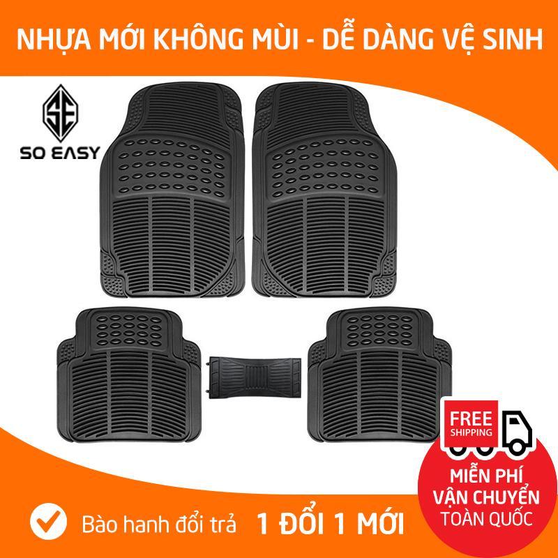 Offer Khuyến Mãi Trọn Bộ 05 Miếng, Tấm Thảm Nhựa PVC Không Mùi Lót Sàn, Lót Chân Chống Trơn Trượt Dày Cao Cấp, Dễ Dàng Vệ Sinh Cho Xe ô Tô, Xe Hơi 4-5 Chỗ_INM009 (đen)