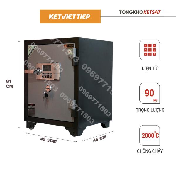 Két sắt - Két Sắt Điện tử - Két Sắt Chống Cháy  KV455DT Điện tử Bảo Hành 5 Năm - Két Sắt Gia Đình