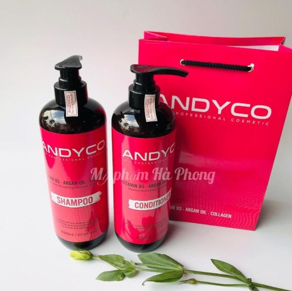 Dầu gội Andyco dầu xả Andyco siêu phục hồi dưỡng sâu  ngừa gầu ngứa, hương nước hoa thơm lâu cặp 800ml (Chính hãng Andyco) giá rẻ