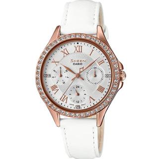 Đồng hồ nữ Casio SHEEN SHE-3062PGL-7AUDF Dây da trắng thanh tao, mặt tròn thiết kế đơn giản thumbnail