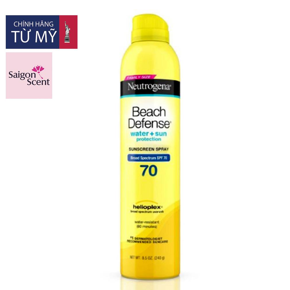 Xịt chống nắng Neutrogena Beach Defense® Water + Sun Protection Sunscreen Spray Broad Spectrum SPF 70 ( FAMILY SIZE)