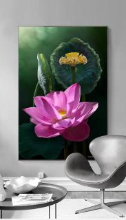 Tranh treo tường hoa sen tối giản in trên canvas có khung, trang trí phòng khách, phòng ngủ ( 10069722) thumbnail