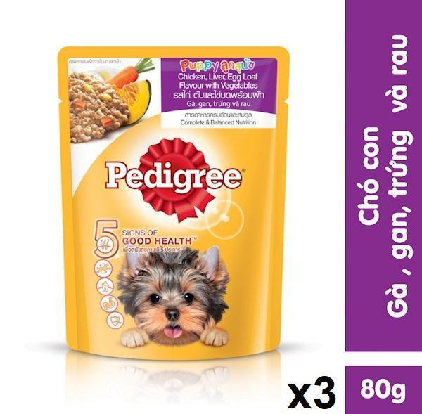 Bộ 3 túi thức ăn chó con dạng sốt Pedigree vị gà, gan, trứng và rau 80g