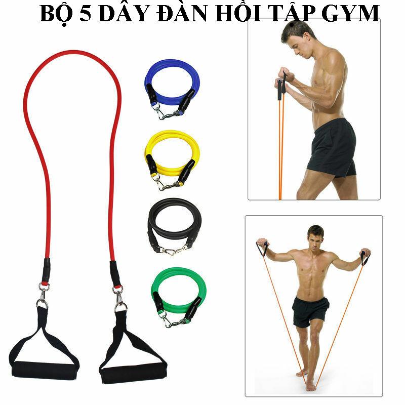 Bảng giá Bộ dây cao su đàn hồi kháng lực tập thể hình gym tại nhà cho nam, nữ, bộ 5 dây tập thể dục tiện lợi, dụng cụ thể thao, phụ kiện tập yoga (tặng túi đựng chống thấm nước)