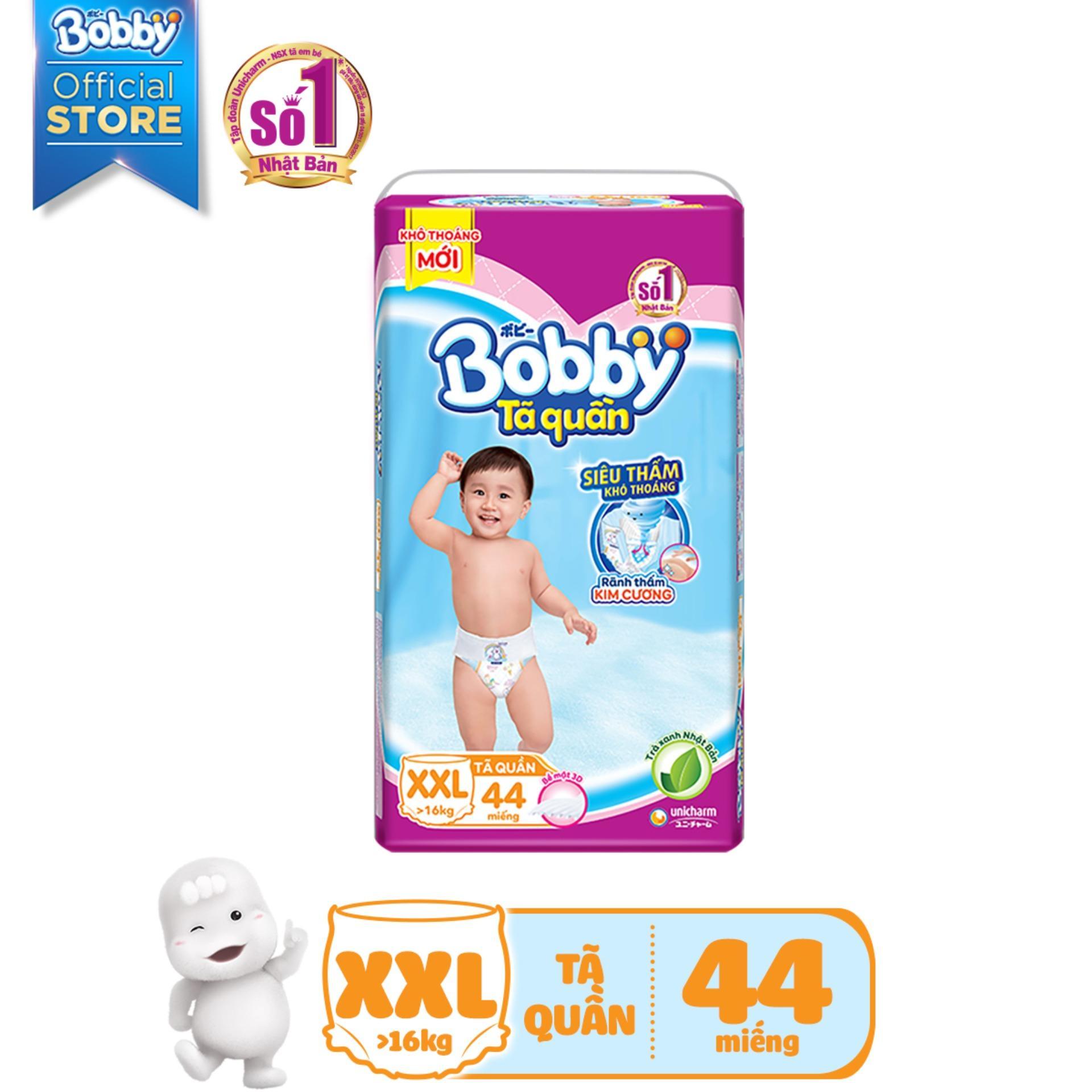 Deal Ưu Đãi [Tiết Kiệm] Bộ 3 Gói Tã/Bỉm Quần Bobby Gói Siêu Lớn XXL-44 Miếng ( 16kg)