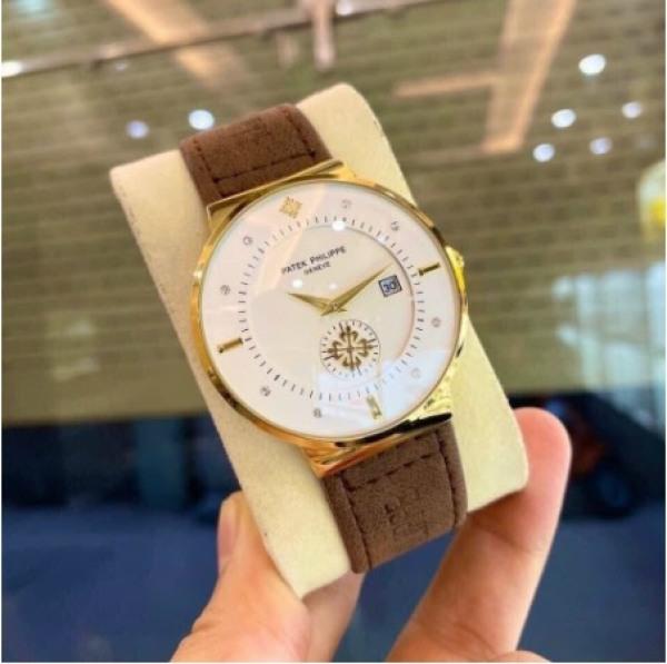 Đồng hồ nam Patek Philippe dây da mềm, chống nước, mặt kính chống xước bán chạy