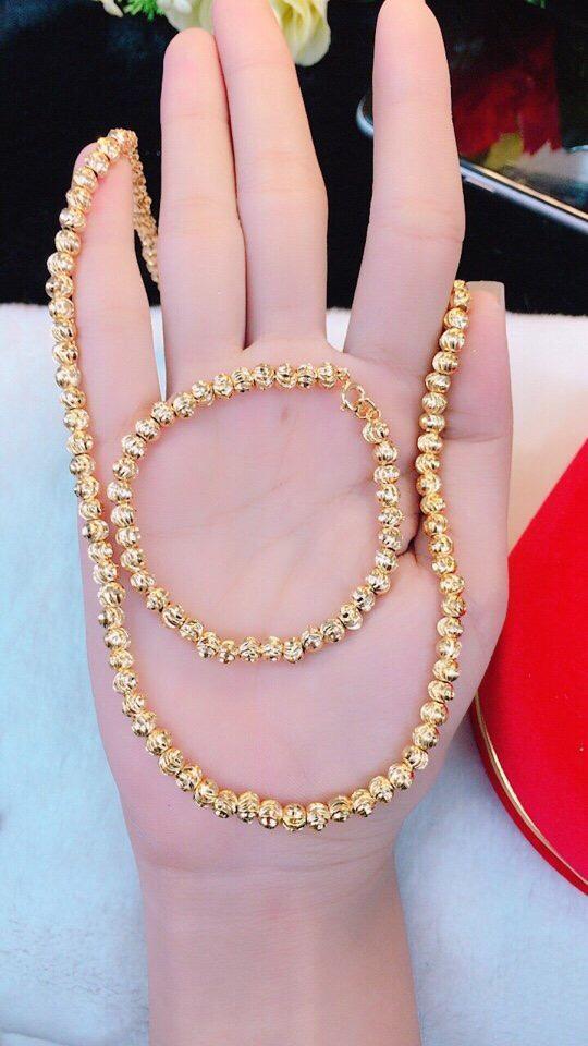 [ GIÁ SIÊU SỐC ] Bộ trang sức vàng 18k, bộ trang sức nữ bi tròn đều chạm hoa văn tinh tế mạ vàng cao cấp thiết kế dễ thương Trang sức Gadoshop VB216091902 - dùng đi tiệc cực kì sang chảnh