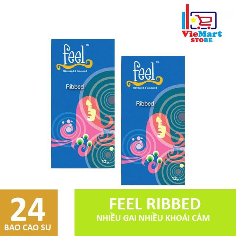 Bộ 2 Bao cao su Feel Ribbed Gân 12s - Hãng phân phối chính thức cao cấp