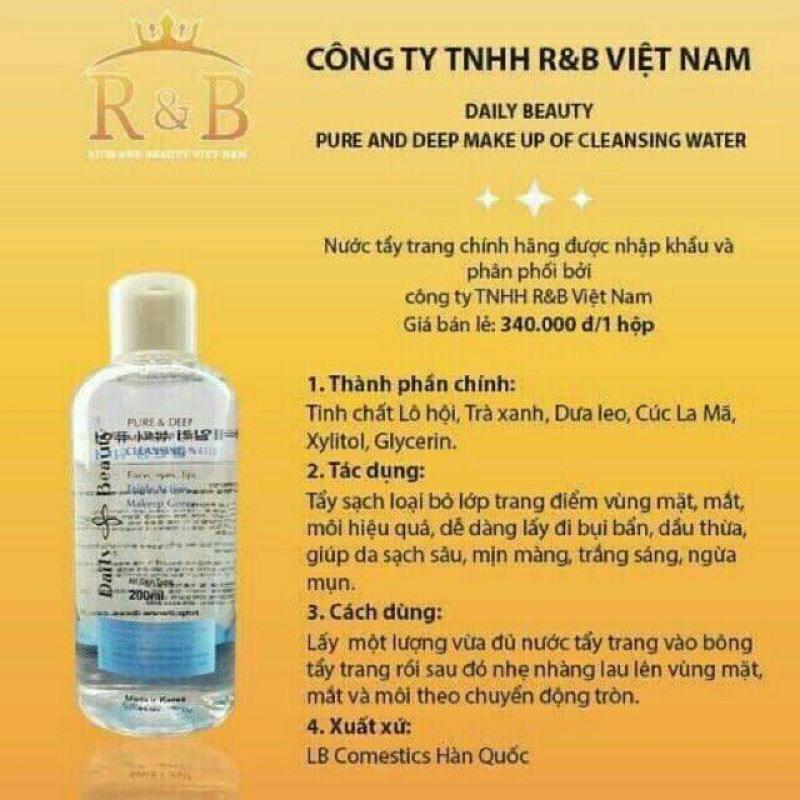 Chính hãng R&B- Nước tẩy trang làm sạch sâu dưỡng ẩm sáng da thiên nhiên cao cấp