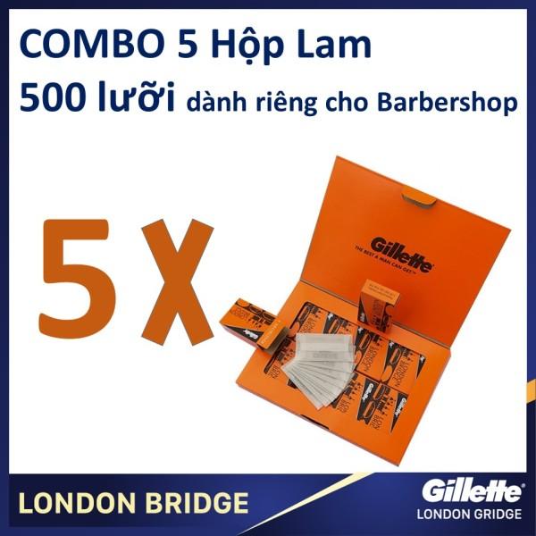 Combo 5 hộp lưỡi lam Gillette London Bridge (Cam) siêu béng dành cho Barbershop 100 cái/hộpX5
