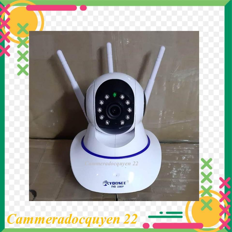 camera wifi app yoosee - quan sát trong nhà 3 râu xoay 360 độ 1080P (BH 12 tháng) ghim thẻ trên đầu