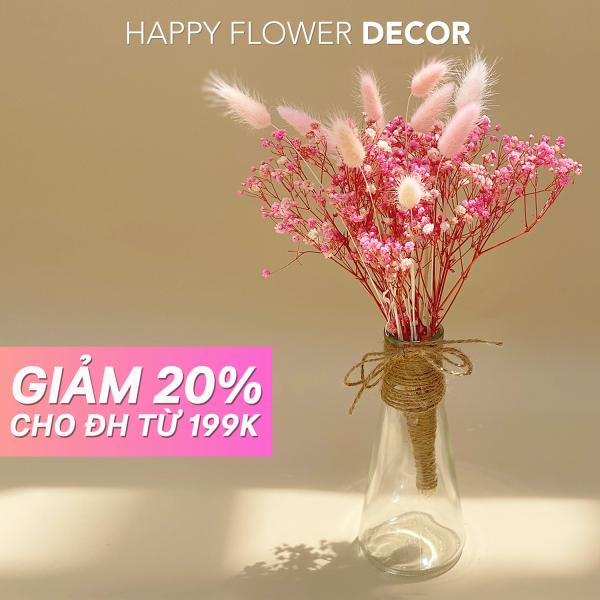 Hoa Khô Happy Flower - Combo hoa baby khô vintage cắm bình trang trí nhà cửa, phòng ngủ