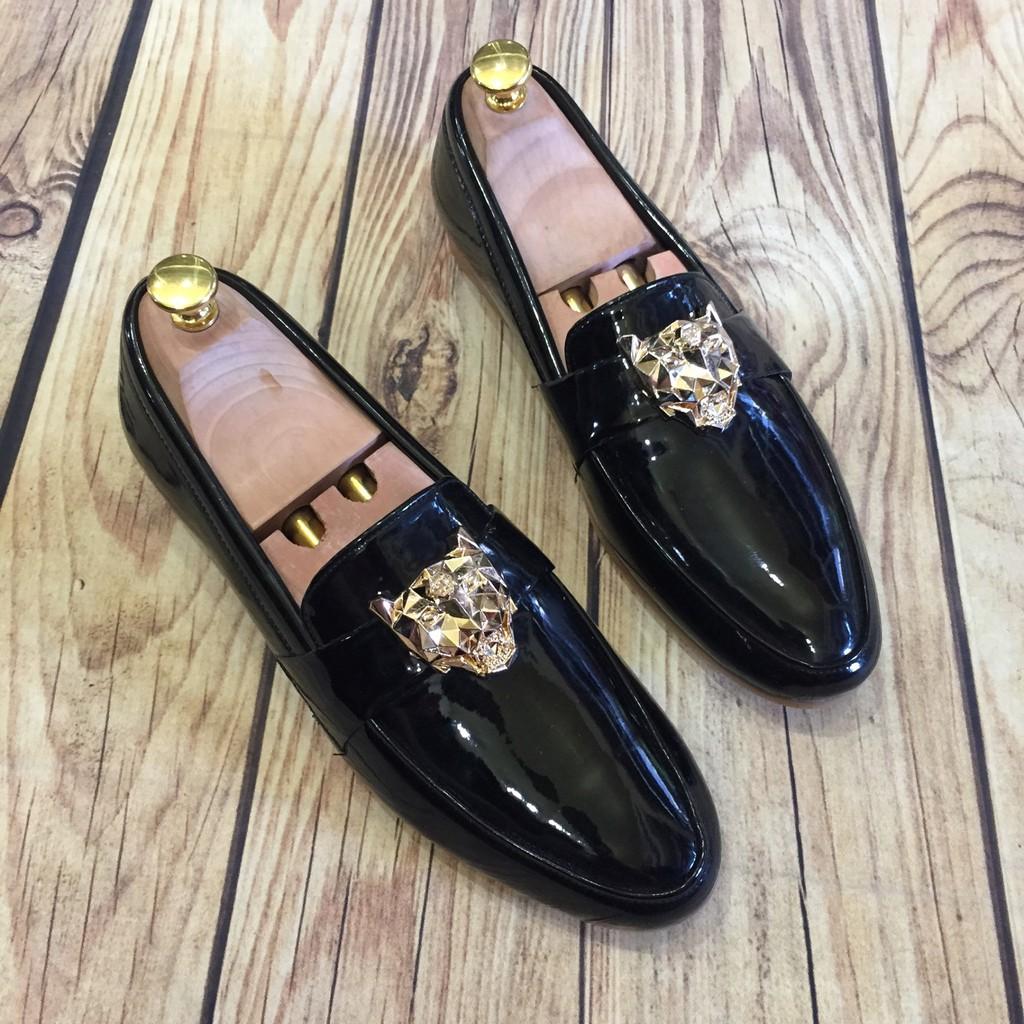 Giầy tây giày lười nam hàn quốc bóng logo hổ báo may đế ( chất store ) (Sản Phẩm Có Bảo Hành ) )