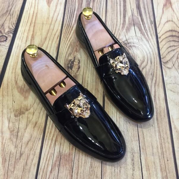 Giầy tây giày lười nam hàn quốc bóng logo hổ báo may đế ( chất store ) (Sản Phẩm Có Bảo Hành ) ) giá rẻ