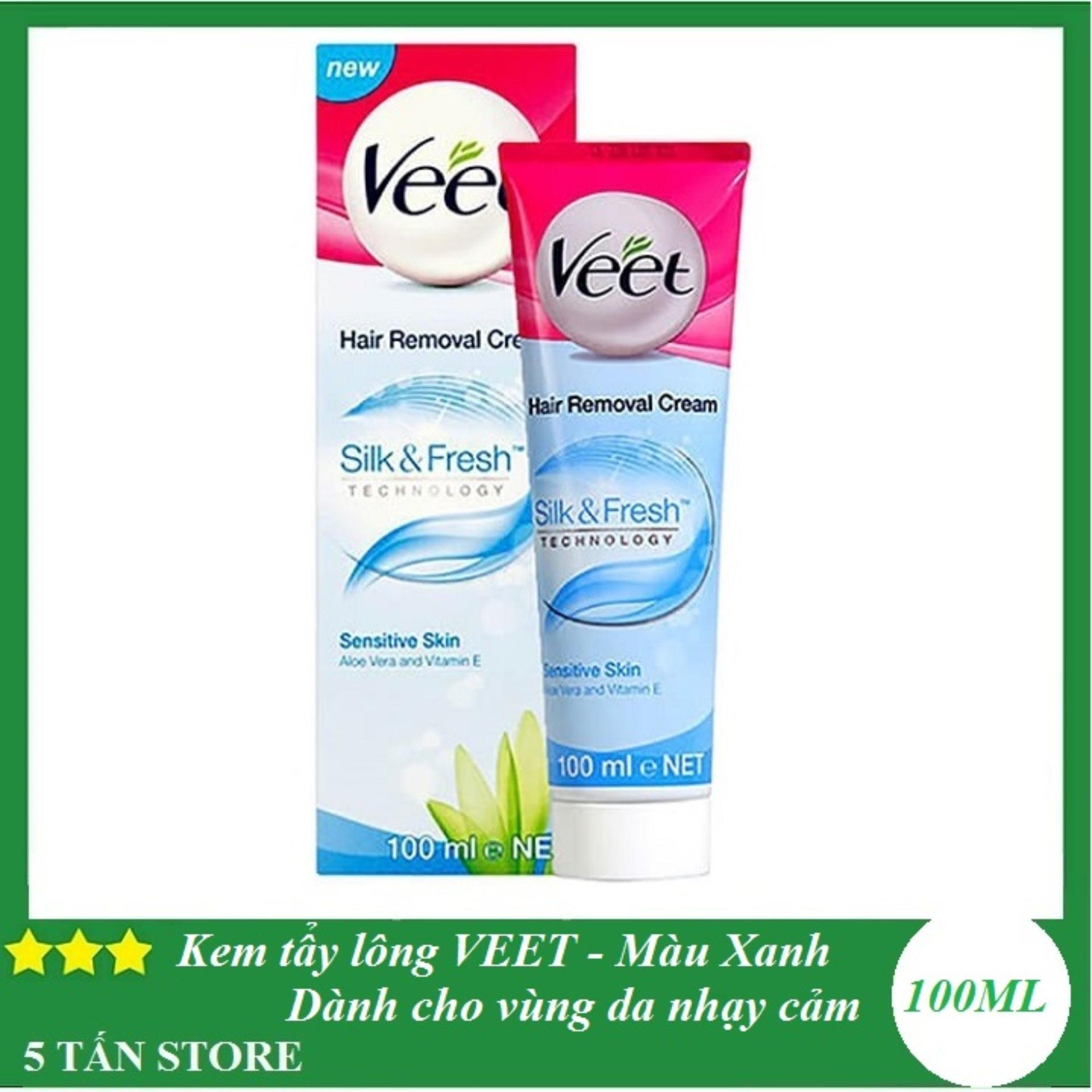 Kem tẩy lông VEET (100ml) - Màu Xanh dành cho vùng da nhạy cảm nhập khẩu