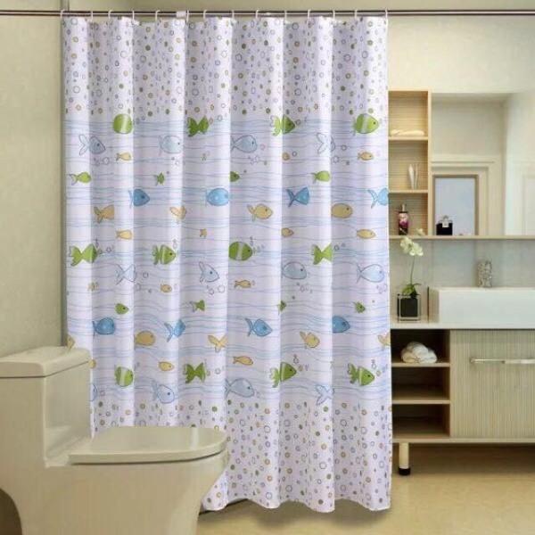 Rèm phòng tắm chống nước1.8m x 1.8m có móc cá nhỏ