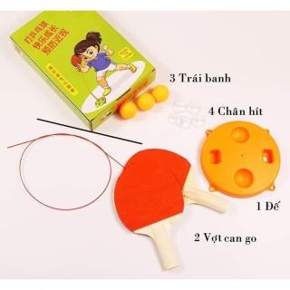 [ RÈN LUYỆN PHẢN XẠ ] - Bộ đồ chơi bóng bàn cho bé ( gồm 3 banh, 4 chân hít, 1 đế, 2 vợt cán gỗ ) - dụng cụ tập đánh bóng bàn thumbnail