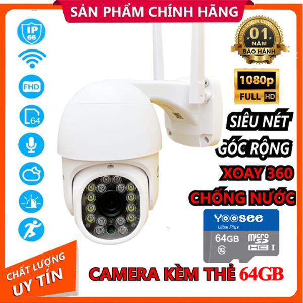 Camera Ngoài Trời PTZ MINI Xoay 360° Chống Nước YooSee Full HD 1080P 8 Led Ban Đêm Trợ Sáng Đàm Thoại 2 Chiều Kèm Thẻ Nhớ 64gb