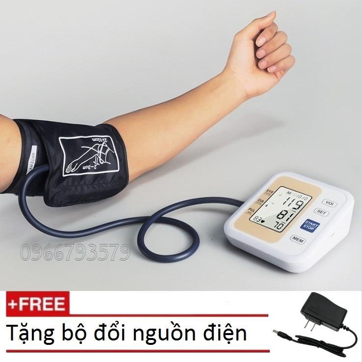 Máy đo huyết áp bắp tay (Vàng) Tặng bộ đổi nguồn + Nhiệt kế điện tử gia đình bán chạy