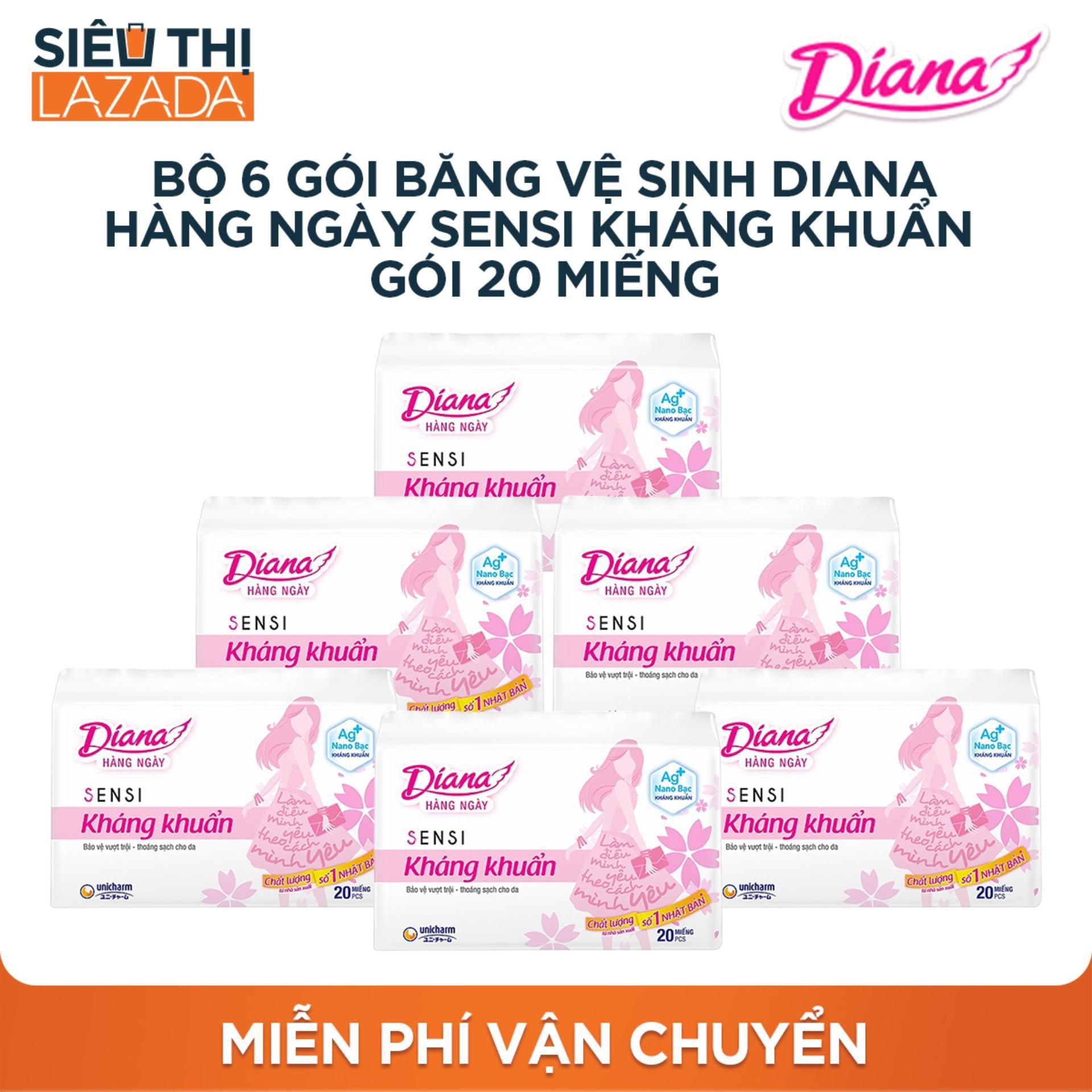 Bộ 6 gói Băng vệ sinh Diana hàng ngày SENSI kháng khuẩn Gói 20 miếng nhập khẩu