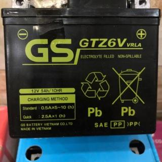 Ắc quy khô GS GTZ6V 12V5Ah cho xe máy tay ga có Idling Stop(bình thấp) thumbnail