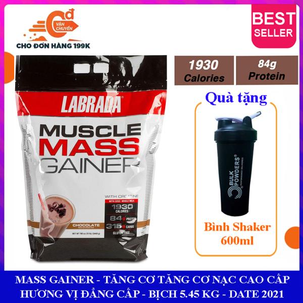[FREE SHAKER] Sữa tăng cân tăng cơ Muscle Mass Gainer của Labrada hương socola bịch 5.4 kg hỗ trợ tăng cân tăng cơ nạc nhanh cho người gầy kén ăn, hấp thụ thức ăn tự nhiên kém giá rẻ