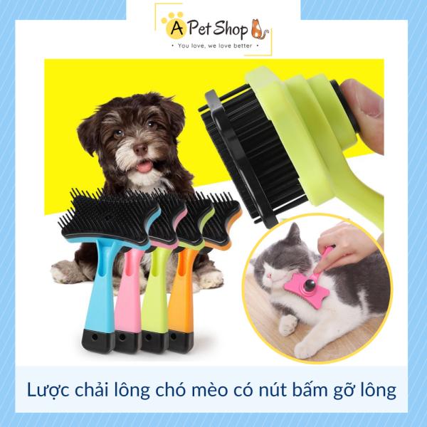 [Có Clip] Lược chải lông chó mèo có nút bấm gỡ lông (Size 12x7,5cm) - A Pet Shop
