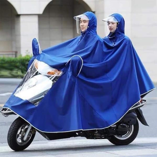 Áo mưa đôi 2 đầu XXXL, áo mưa dáng trùm rộng có phản quang có tai bằng túi bóng kính che gương và đèn xe