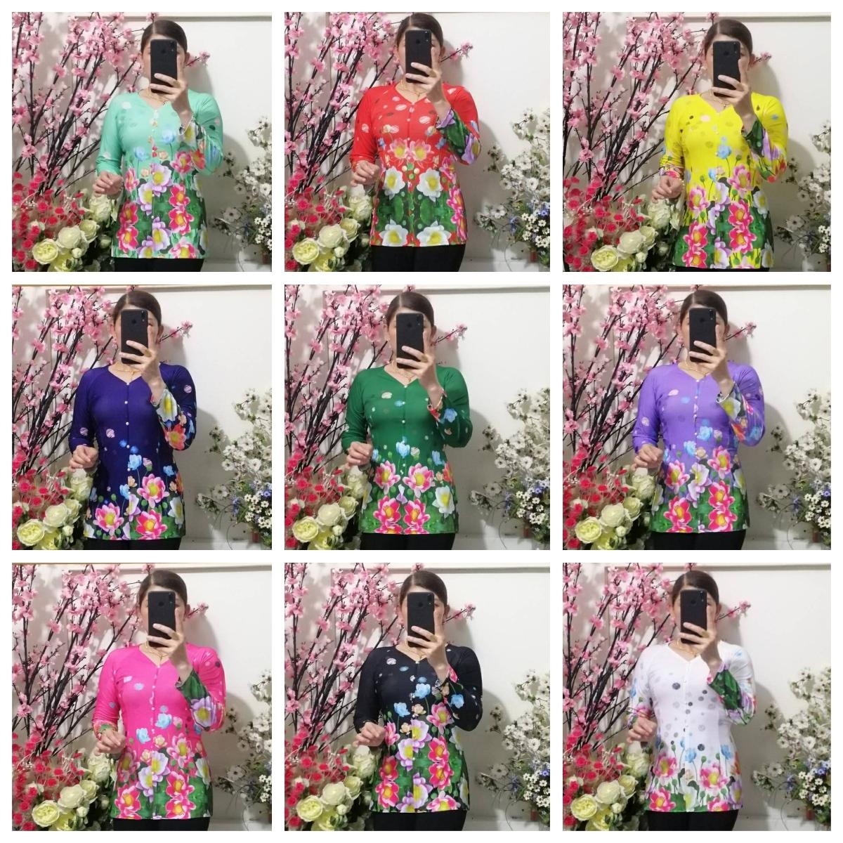 Áo Bà Ba In Hoa 4D Tay Dai - Không Quần