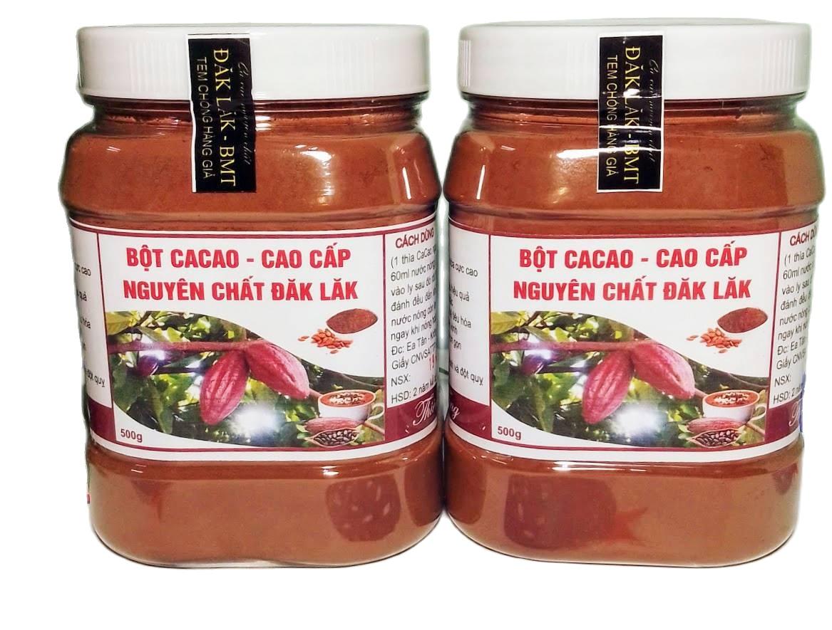 (MIỄN SHIP 18K) Combo 1kg Bột Cacao Nguyên Chất Đăk Lăk Loại 1: Thơm ngon, Bổ Dưỡng, Vị Đậm Đà (2 hủ 500gr) Shop Na Gà