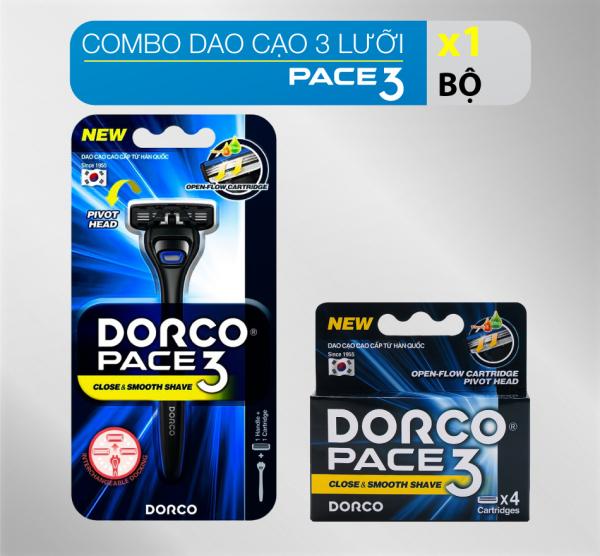 Combo cán và 4 đầu dao cạo 3 lưỡi DORCO PACE 3