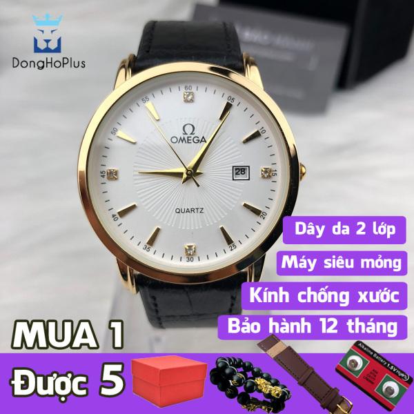 Đồng hồ nam dây da máy mỏng cao cấp viền mạ không phai màu, chống nước, chống xước, TẶNG VÒNG + TẶNG 1 BỘ DÂY + 2 PIN AG04 bán chạy
