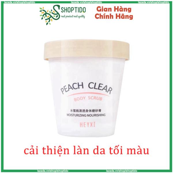 Kem Tẩy Da Chết Body Đào Peach Clear HEYXI giúp da trắng hồng, cải thiện làn da 200ml NPP Shoptido giá rẻ