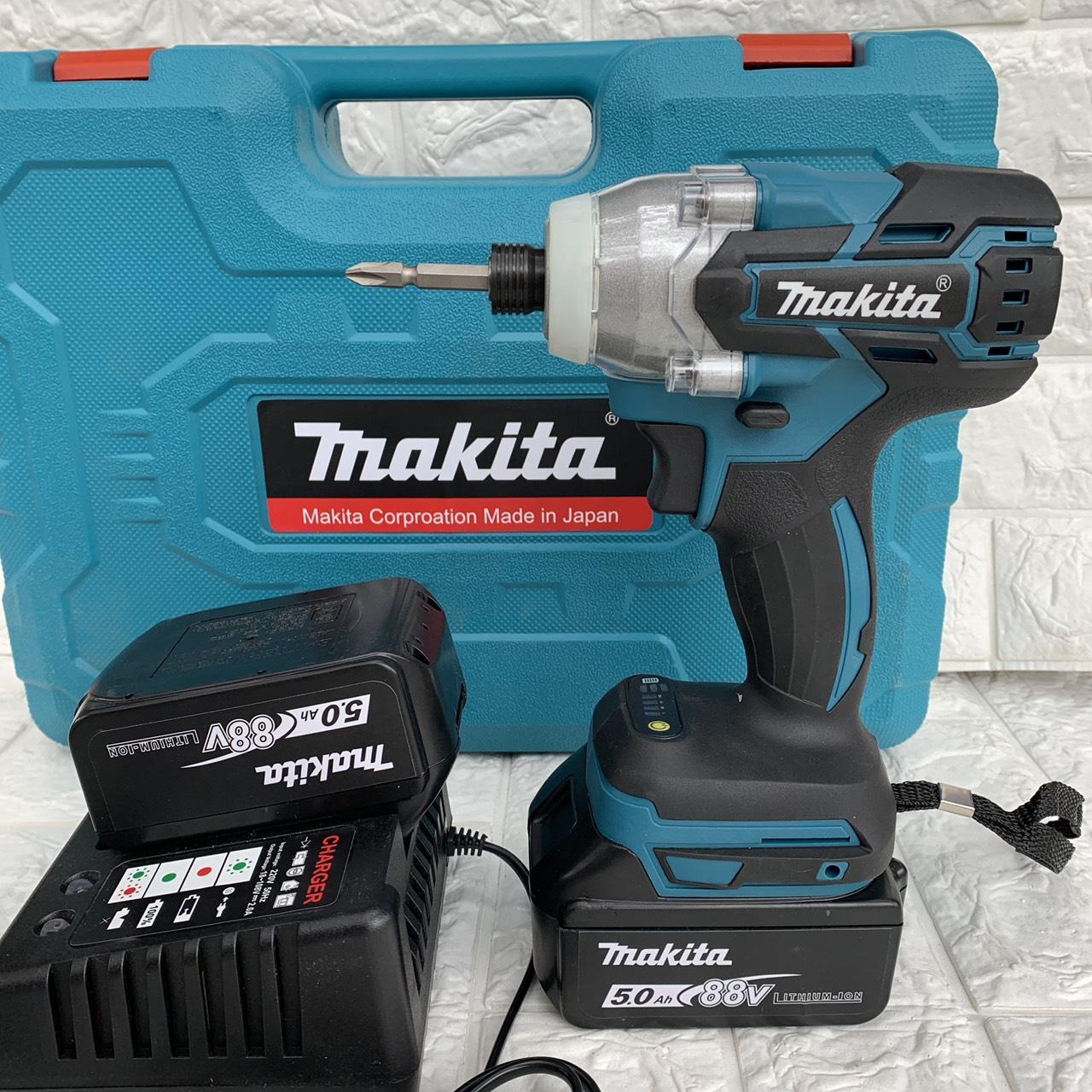 Máy khoan pin chuyên vít MAKITA không chổi than, 3 tốc độ , 2 pin 1 sạc, kèm từ tôn + mũi bắn vít