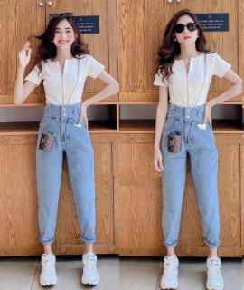 Quần baggy jean nữ lưng siêu cao chất vải cao cấp thời trang trẻ trugn năng động AMISHASHOP98 ms11 thumbnail