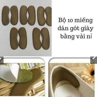 Combo 10 miếng Lót gót giàyvải nỉ giảm đau gót
