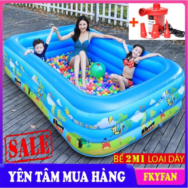 Bể bơi bơm hơi cho bé 2m1, bể bơi mini gia đình, Bể bơi phao Cỡ lớn cho bé và gia đình loại dày. Bảo hành 12 tháng.