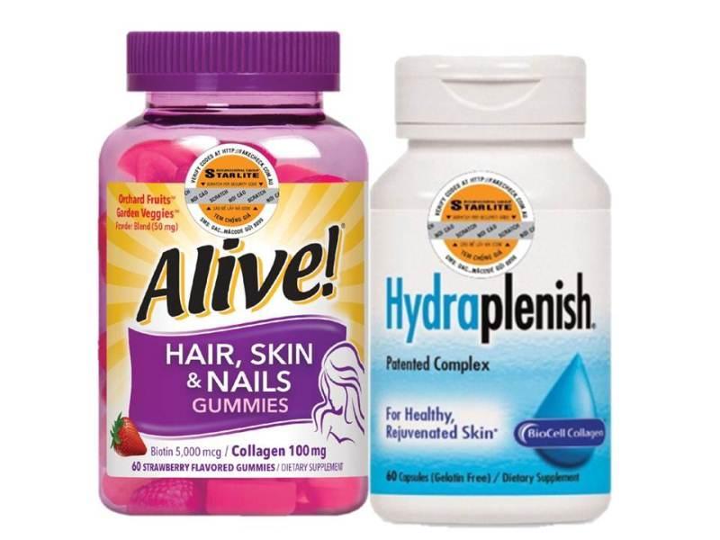Bộ sản phẩm chăm sóc da Natures Way Hydraplenish 60 viên & Alive Hair, Skin & Nail 60 viên