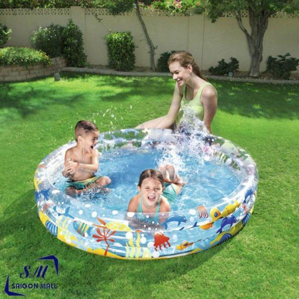 Bộ phao bơi 3N1 - Hồ bơi 2 tầng TRÒN màu ngẫu nhiên KÈM Bóng tròn + Phao Tròn dành cho em bé tắm và tập bơi trong nhà cực vui