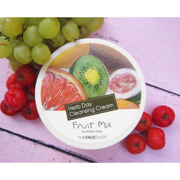 Kem tẩy trang trái cây the face shop herb day rich cleansing cream fruit mix