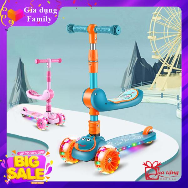 Xe trượt Scooter, Xe trượt giành cho bé từ 2-8 tuổi, Xe trượt 3 bánh chịu được trọng tải 100kg, Đồ chơi ngoài trời giúp bé phát triển, Món quà đặc biệt giành tặng bé