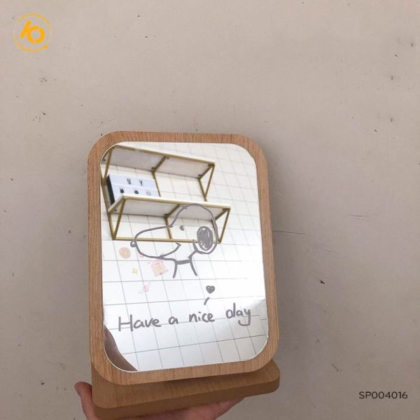 Gương Gỗ Đặt Bàn Tặng Kèm Bút Viết Mặt Gương Độc Đáo Cho Bạn Thỏa Sức Sáng Tạo giá rẻ