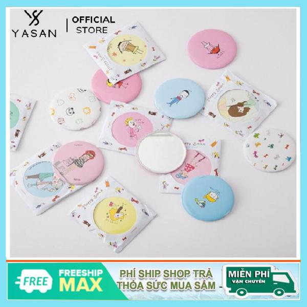 Gương trang điểm mini siêu cute cầm tay bỏ túi Hàn Quốc tiện lợi viền kim loại Yasan