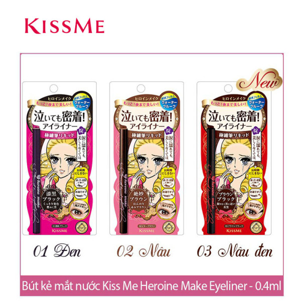 Bút kẻ mắt Isehan Kiss Me Heroine Make Smooth LIQUID Eyeliner, Super Waterproof